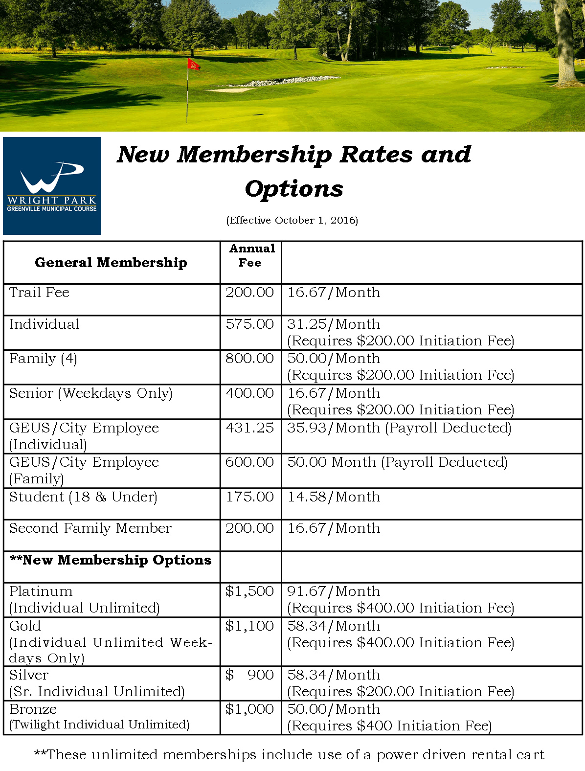 Membership fees for golf course